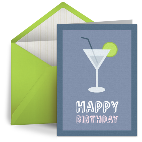 Vintage Martini Free Birthday Card for Her Happy Birthday eCard