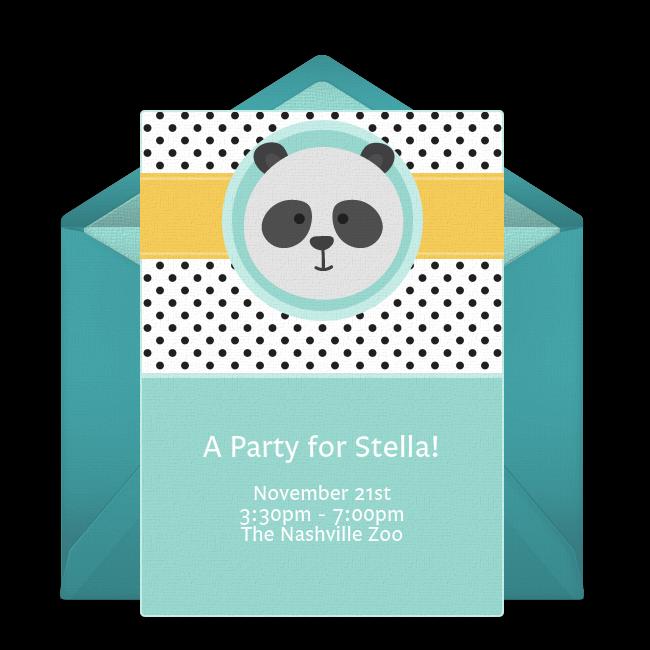 Free Panda Party Online Invitation