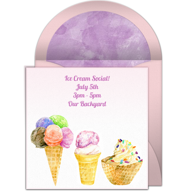 ice cream social online invitation