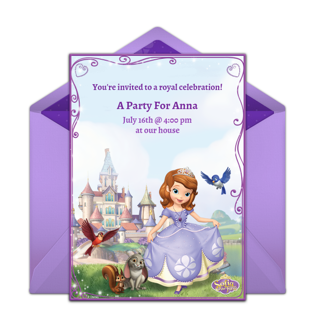 Free Sofia the First Online Invitation Punchbowlcom
