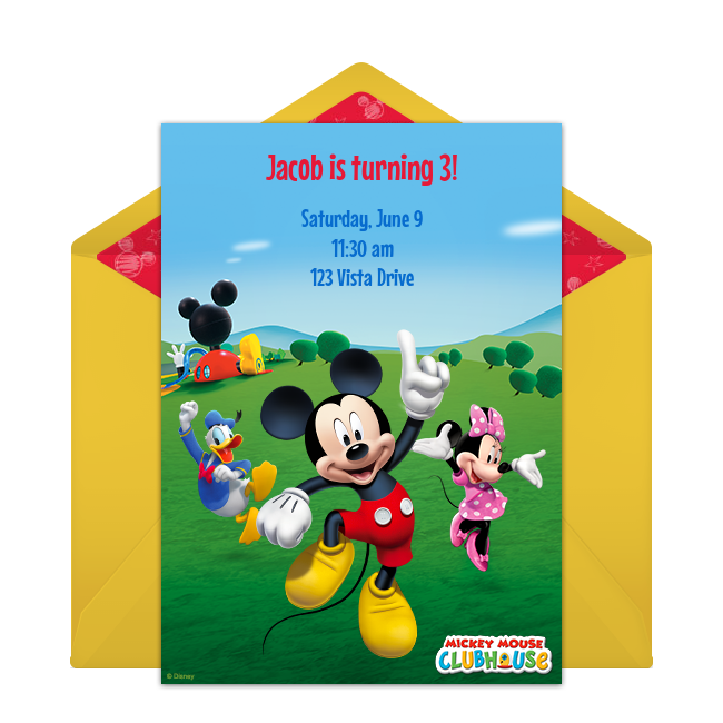 Free Mickey Mouse Clubhouse Online Invitation Punchbowlcom