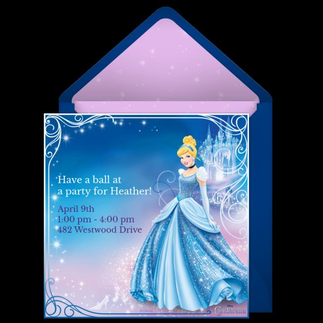 free cinderella online invitation punchbowl com