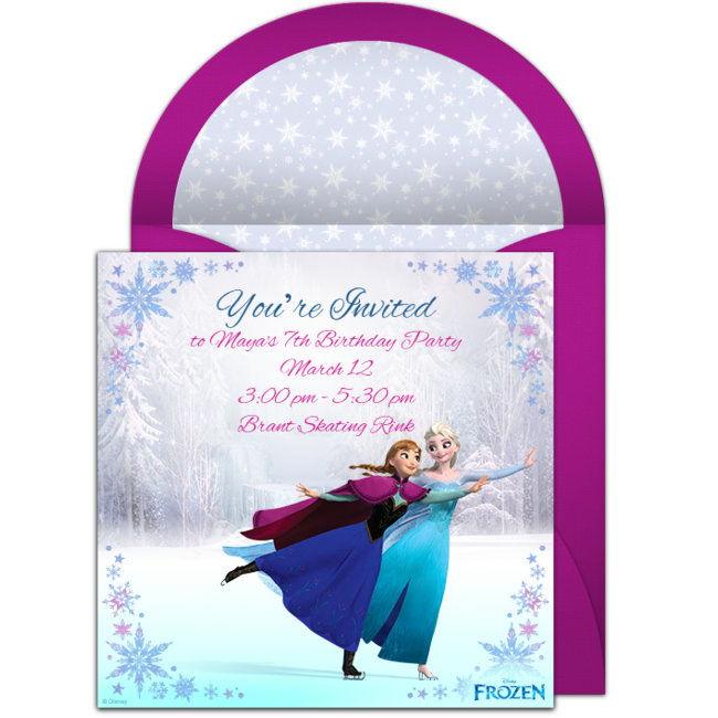 Frozen Ice Skating Online Invitation