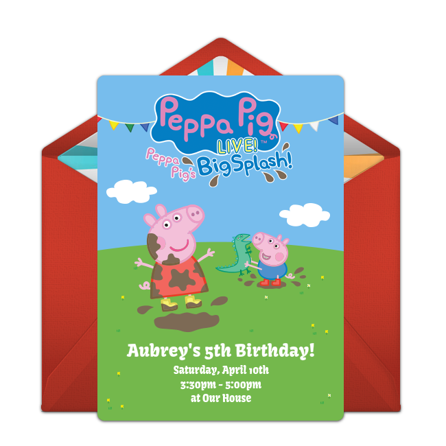 Free peppa pig live online invitation punchbowl peppa pig live online invitation stopboris Image collections