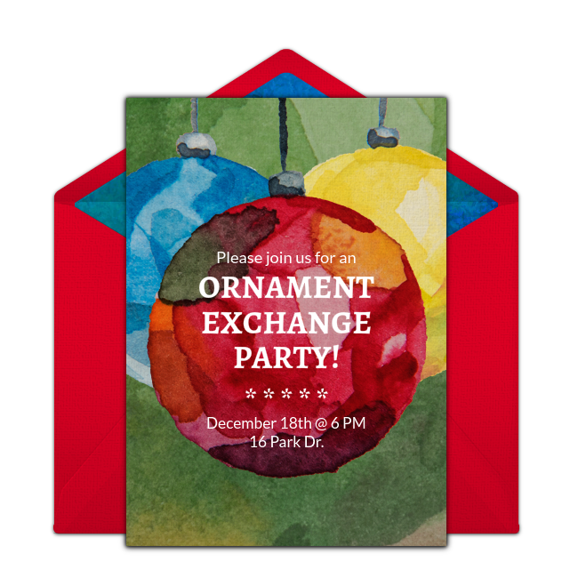 free ornament exchange online invitation punchbowl com