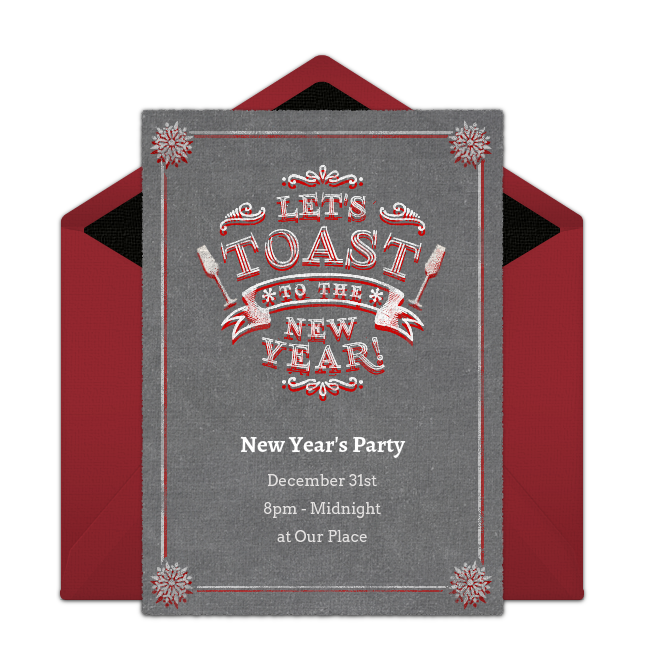 toast the new year online invitation