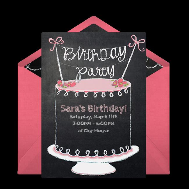 Free chalkboard birthday cake online invitation punchbowl chalkboard birthday cake online invitation filmwisefo
