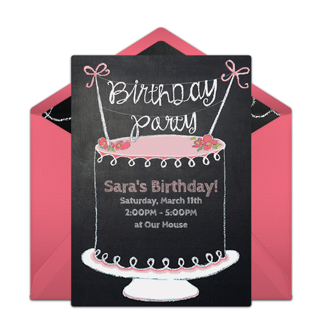 Chalkboard Birthday Cake Online Invitation