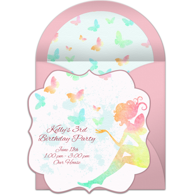 Butterfly Fairy Online Invitation