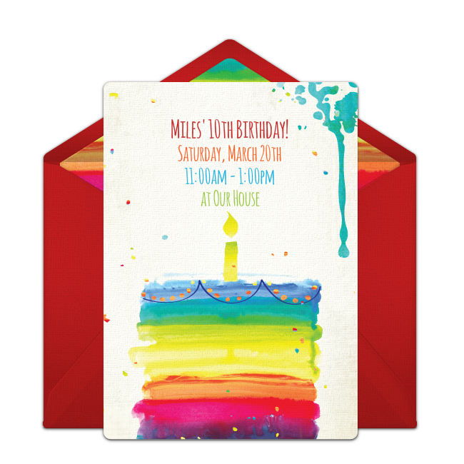 Free rainbow birthday cake online invitation punchbowl rainbow birthday cake online invitation stopboris Choice Image