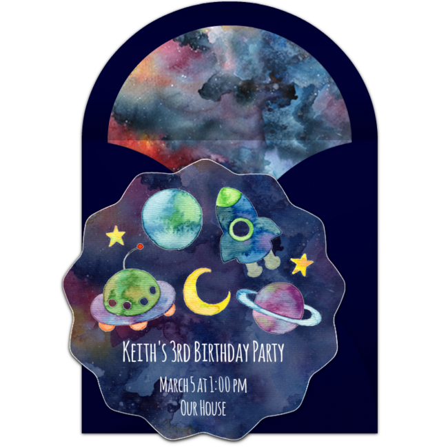 Free Outer Space Birthday Online Invitation