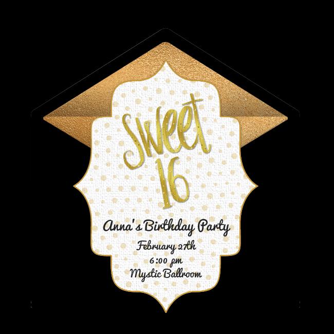 Sweet 16 Birthday Online Invitation