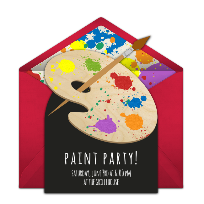 It's just a photo of Free Printable Paint Party Invitations inside splash party