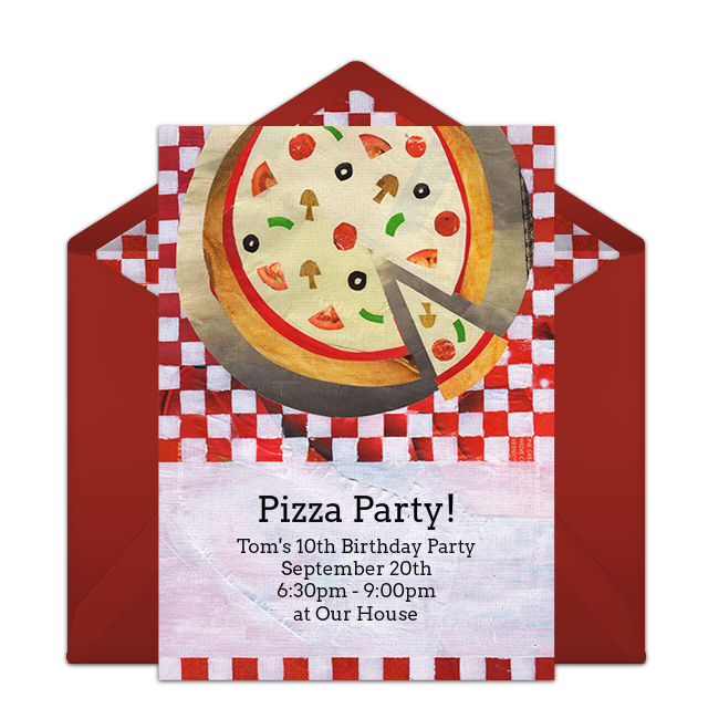 free pizza pie collage online invitation punchbowl com