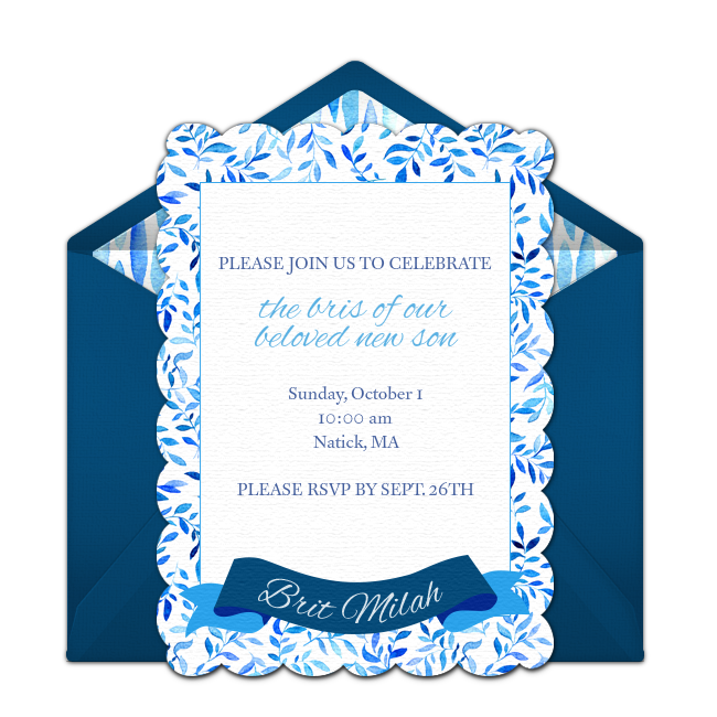 Free Baby Bris Online Invitation Punchbowlcom