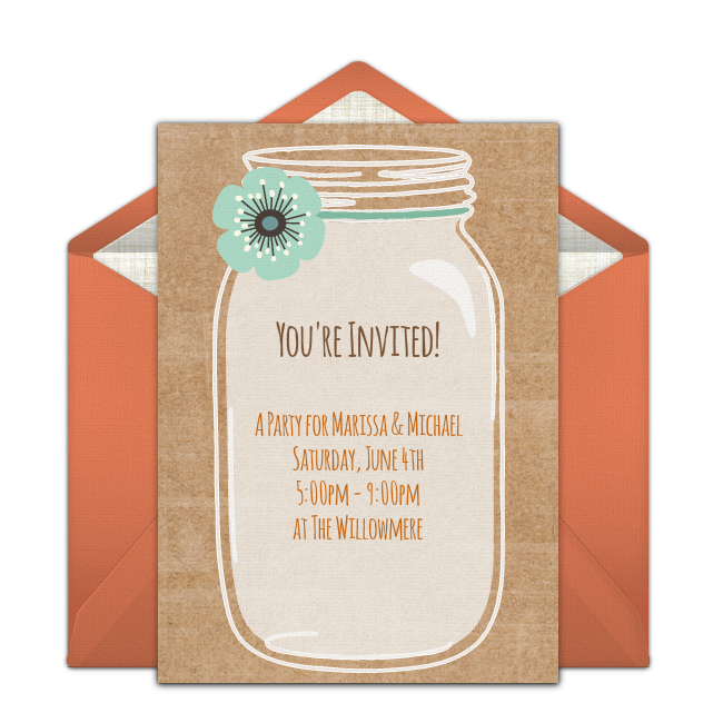 Rustic Mason Jar Online Invitation