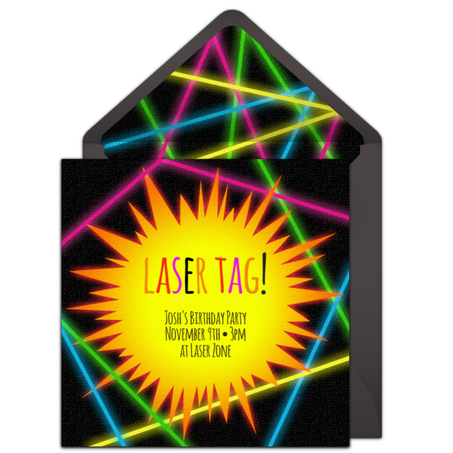 Laser Tag Online Invitation