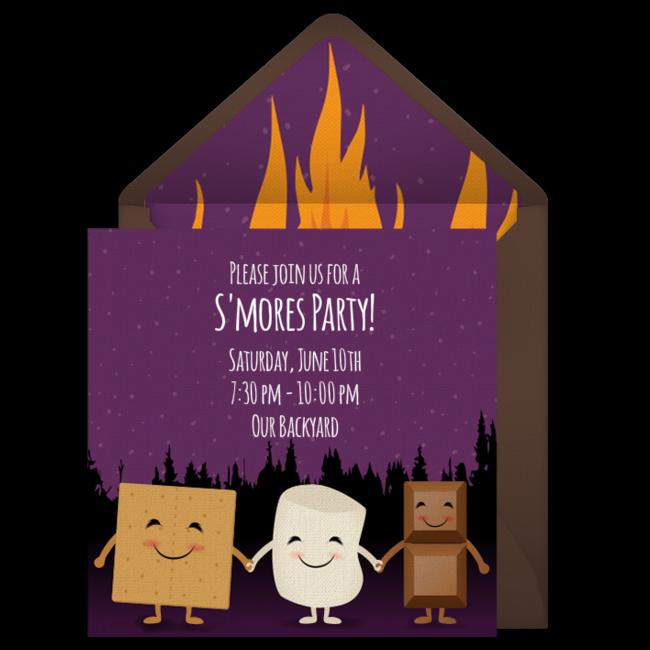 Smores Bonfire Online Invitation