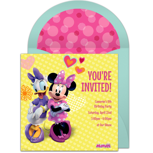 free minnie and daisy online invitation punchbowl com