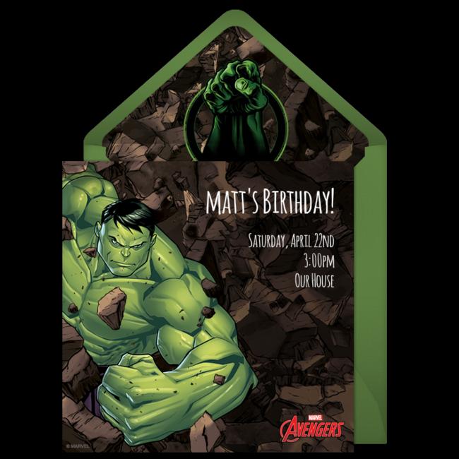 Avengers Hulk Online Invitation