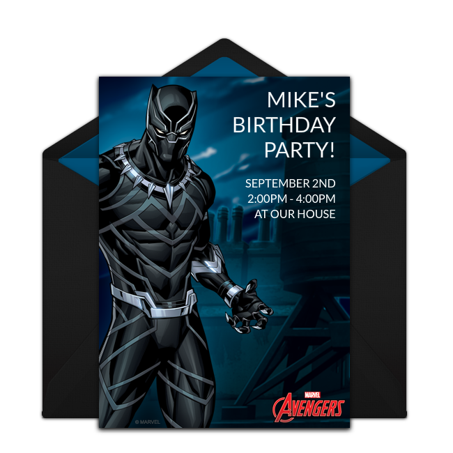 Avengers Black Panther Online Invitation