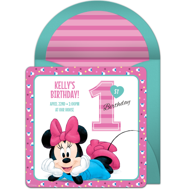 Minnie Mouse 1st Online Invitation