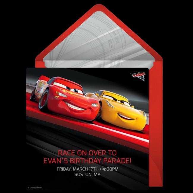 Cars 3 Online Invitation