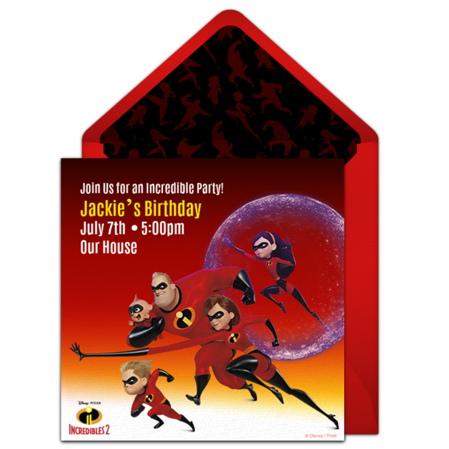 Incredibles 2 Online Invitation