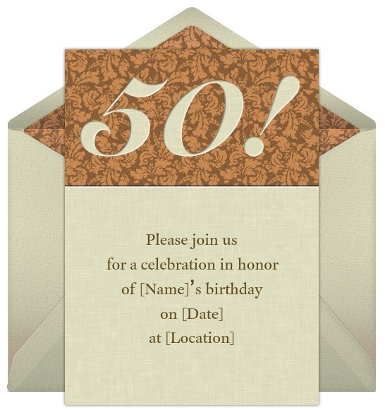 50th birthday invitation, Birthday invitations