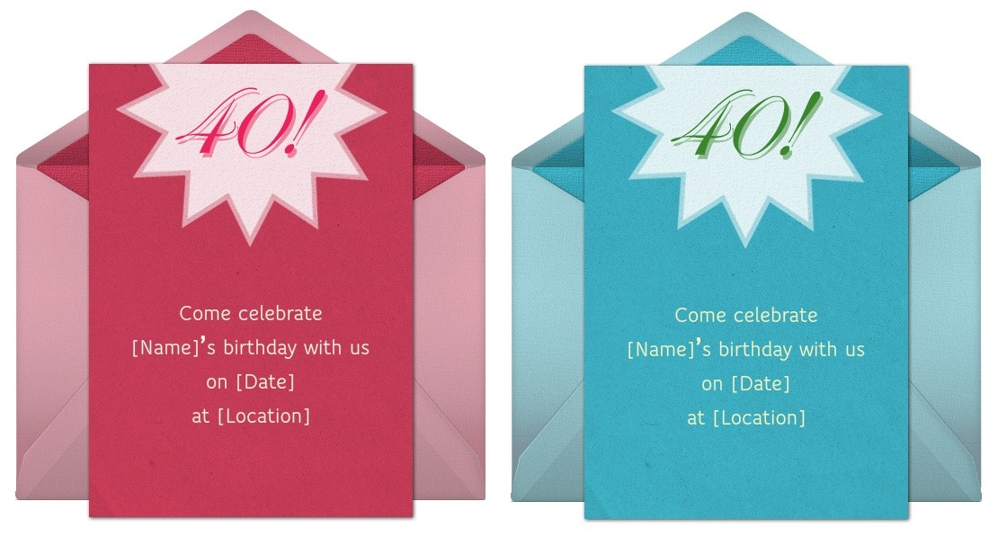 40th birthday invitation, Birthday invitations