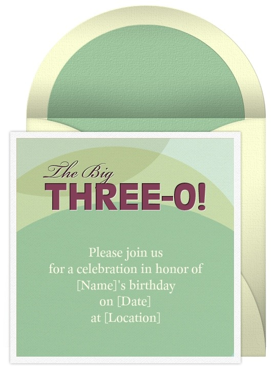 30th Birthday Invitation – Punchbowl Birthday Invitations