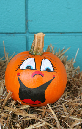 No carve pumpkin decorating Funny pumpkin painting ideas
