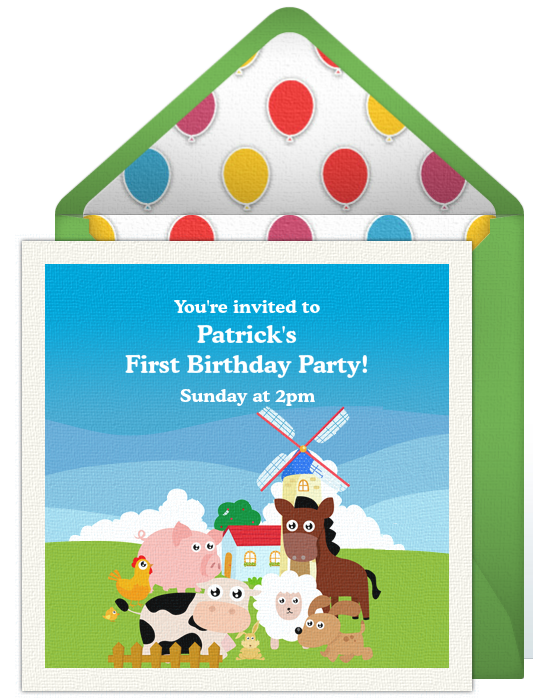 St Birthday Invitations - Digital first birthday invitation