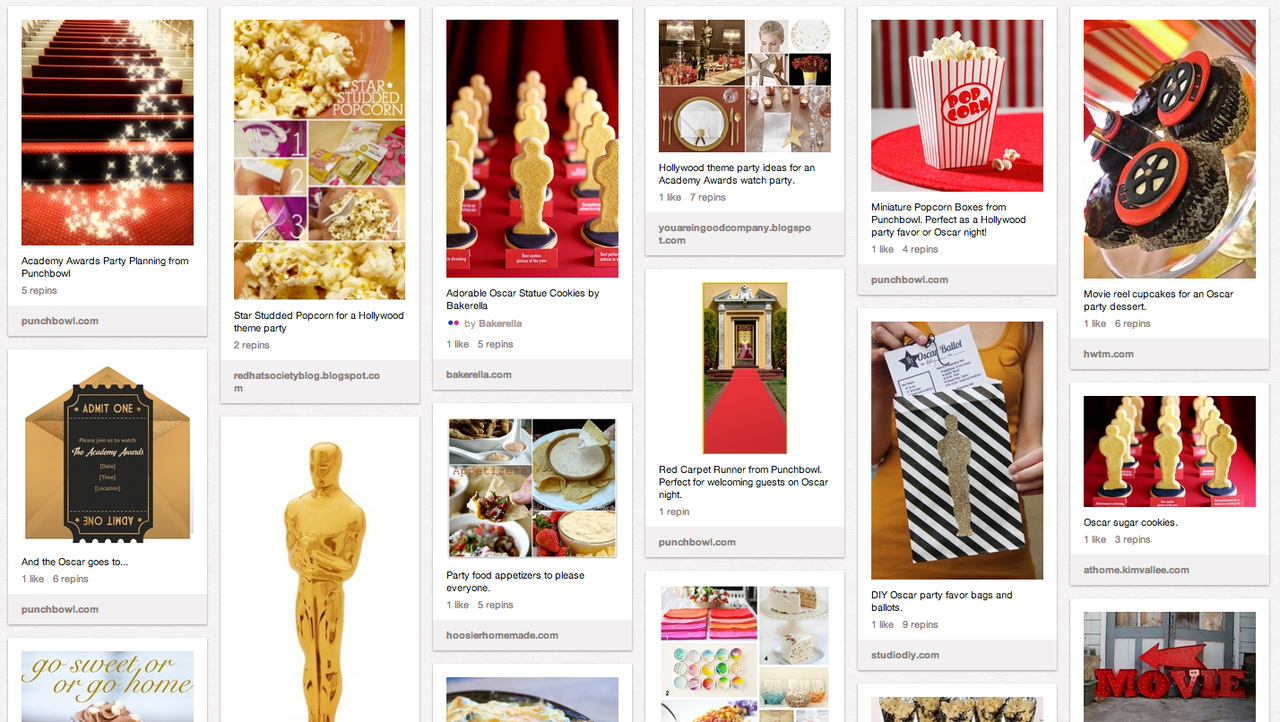 punchbowl's oscar party pinterest board