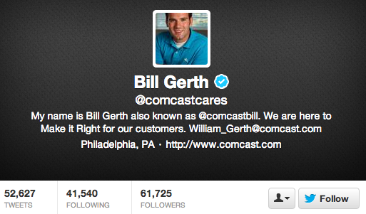 comcast cares twitter profile