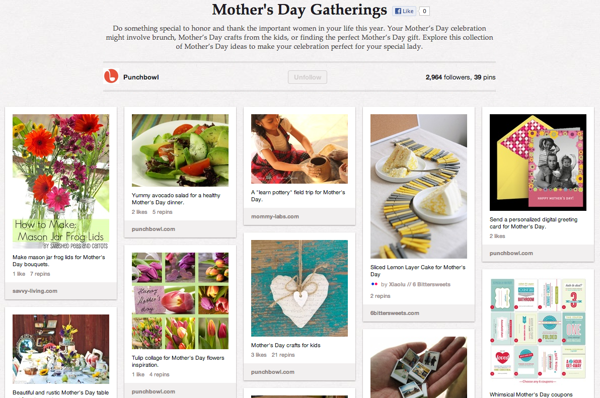 mother's day board pinterest