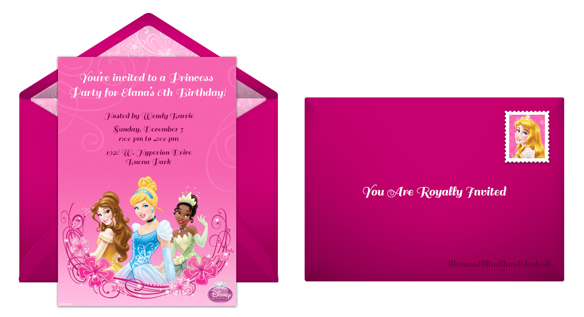 Plan The Perfect Disney Princess Birthday Party - Free online invitation cards for birthday party