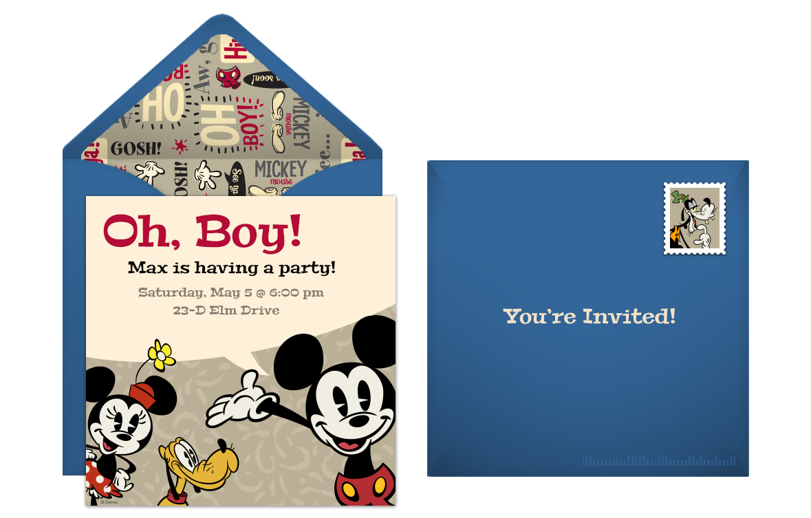 Retro Mickey Mouse Online Invitation Or Impress Your Party