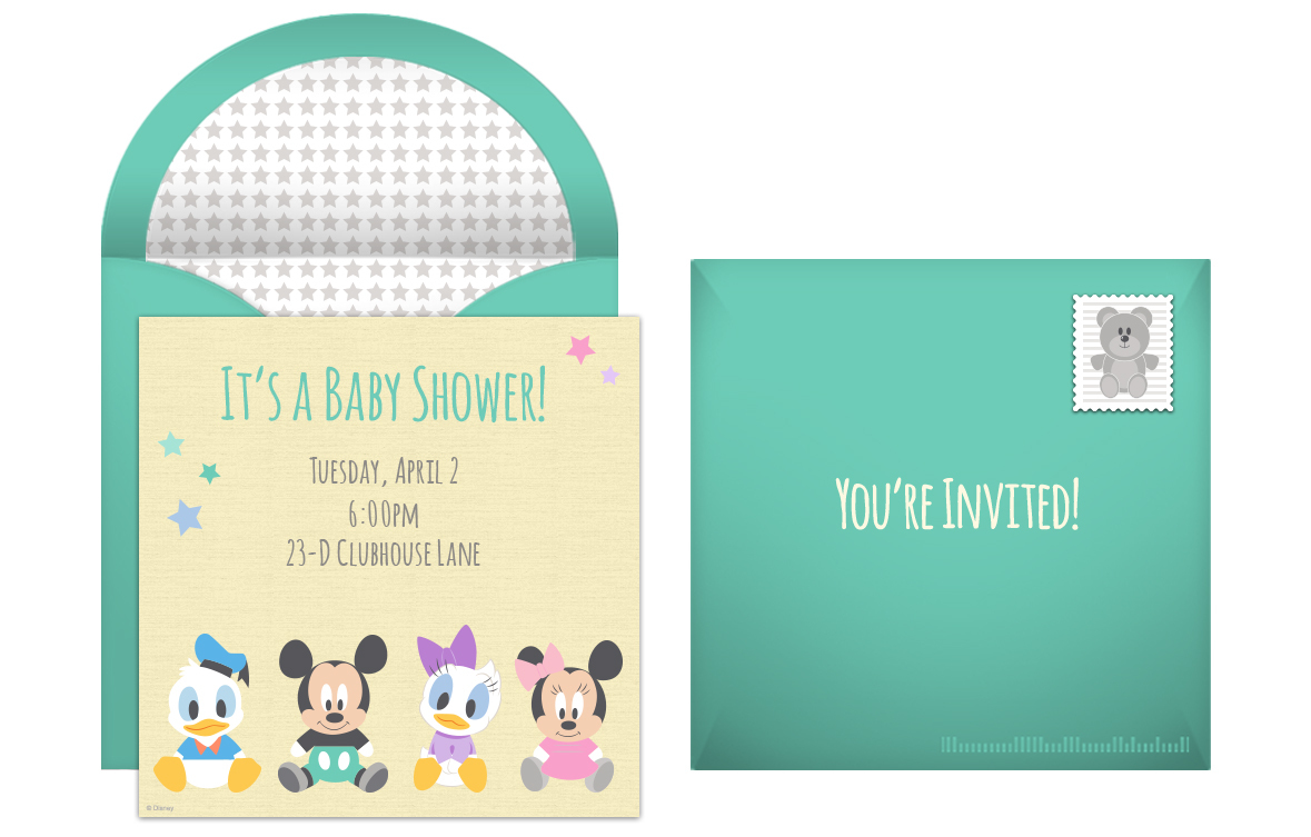free disney baby shower online invitation