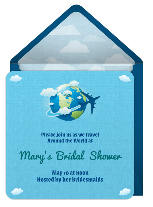 around the world theme bridal shower, Bridal shower invitations