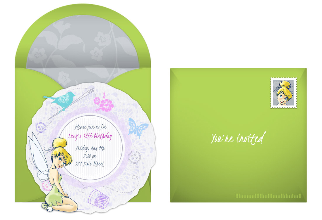 plan a flitterific tinker bell birthday party, Party invitations