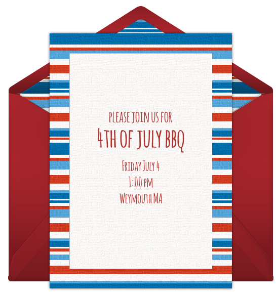 4th of July Free Online Invitation