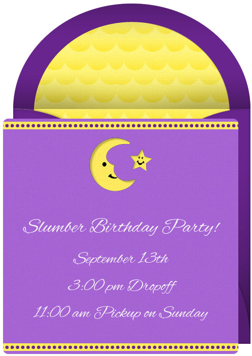 free online invitation slumber party sleepover birthday