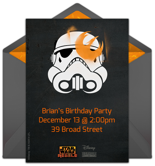star wars party, Party invitations