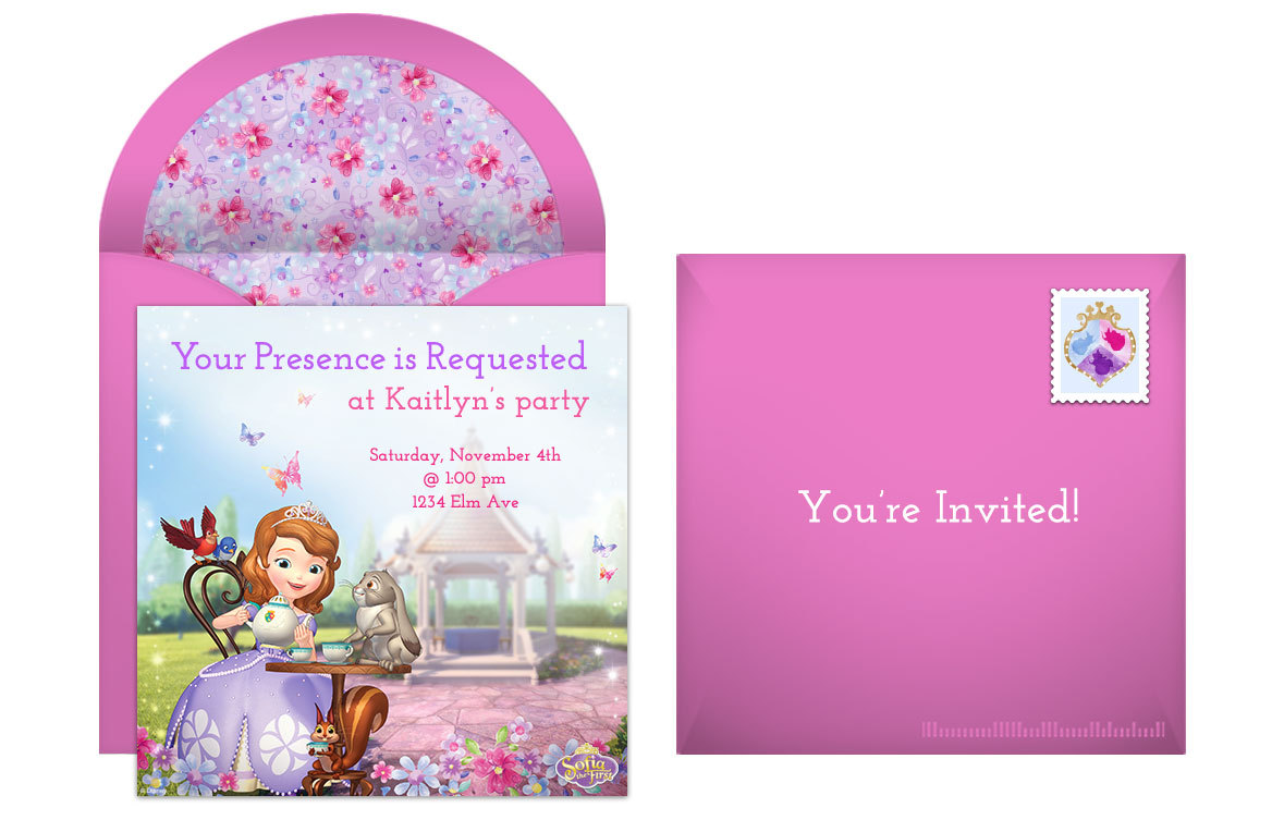 Plan a royal sofia the first birthday party free disney sofia the first online invitation stopboris Image collections