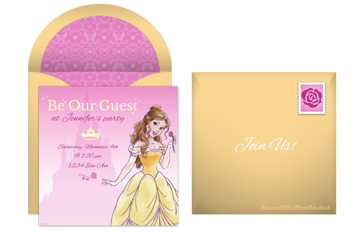 Plan a royal beauty and the beast birthday party free princess belle online invitations filmwisefo
