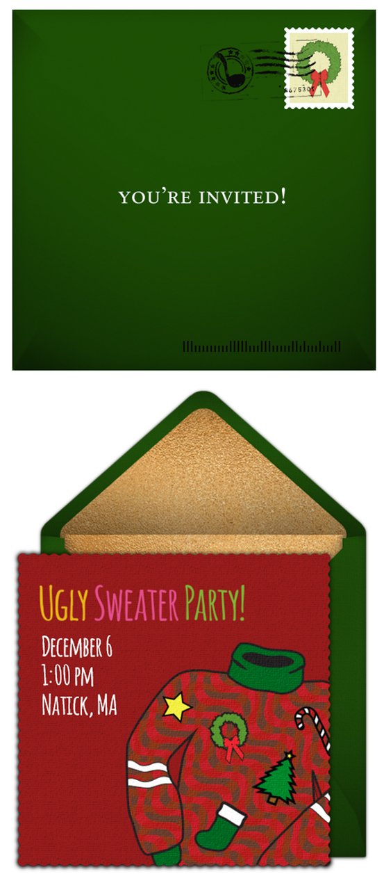 Ugly Christmas Sweater Party Ideas - Ugly sweater christmas party invitations template