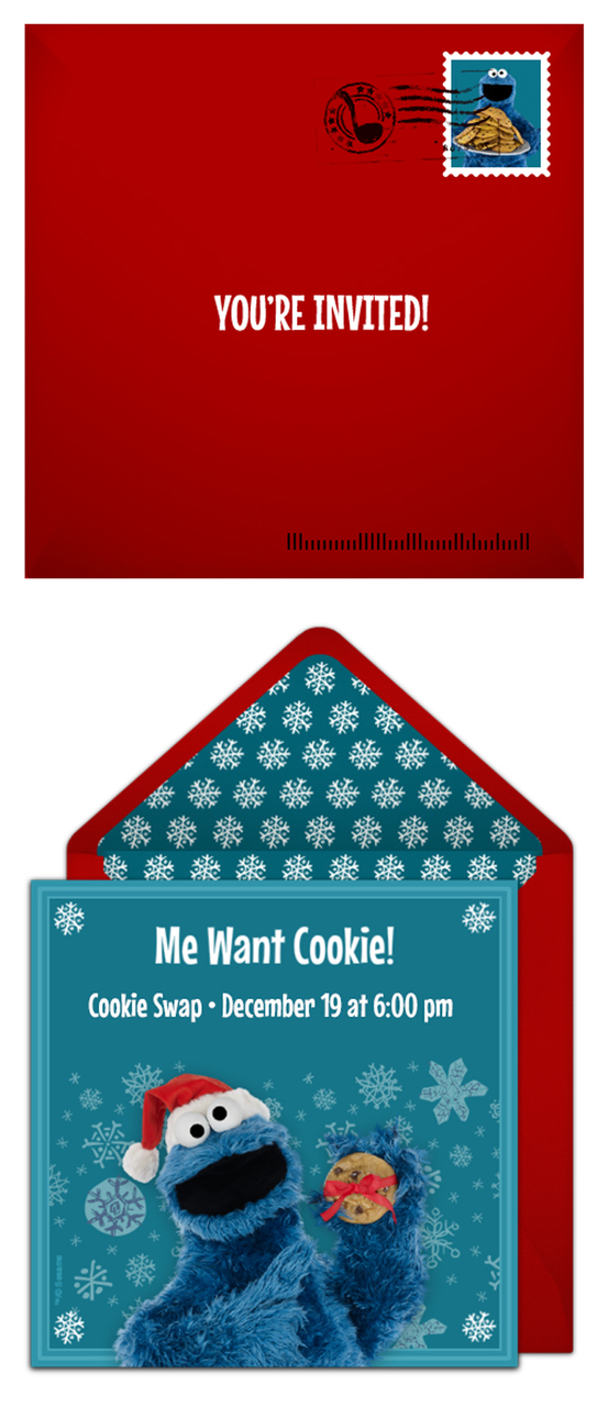 Free Cookie Monster cookie exchange party invitations!