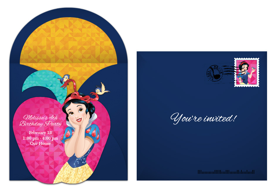plan an enchanting snow white birthday party, Birthday invitations