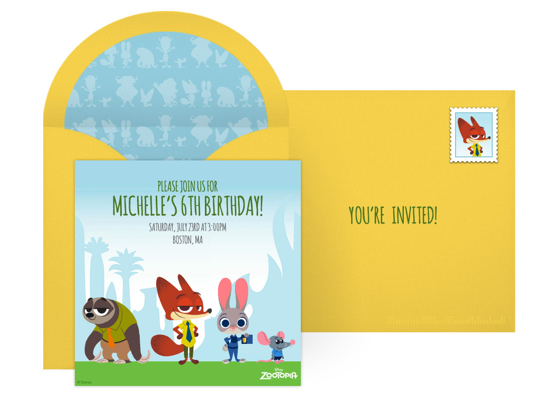 Plan a zany zootopia birthday party free zootopia online invitation stopboris Image collections